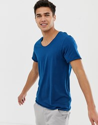 Selected Homme T Shirt With Scoop Neck Navy Peony Blue