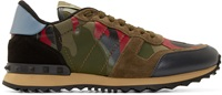 Valentino Olive Green And Red Camo Sneakers