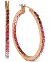 Betsey Johnson Rose Gold Tone Red Crystal Inside Out Hoop Earrings