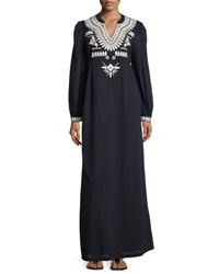 Tory Burch Keegan Embroidered Cotton Voile Caftan Dress Navy Sea