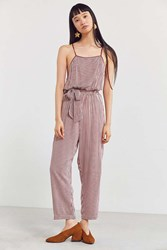 Cooperative Olivia Striped Backless Jumpsuit Brown Multi