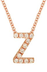 Bony Levy Women's Pave Diamond Initial Pendant Necklace Nordstrom Exclusive Rose Gold Z