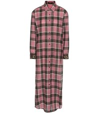 Etro Embroidered Wool Blend Check Shirt Dress Pink