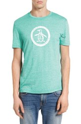 Original Penguin Men's Distressed Circle Graphic T Shirt Bright Aqua