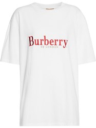 Burberry Embroidered Archive Logo Cotton T Shirt White