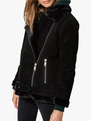 Selected Femme Victoria Faux Fur Collar Suede Jacket Black