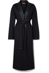 Loro Piana Belted Silk Satin Trimmed Cashmere Coat Navy