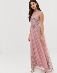 Maya Allover Premium Embellished Mesh Cap Sleeve Maxi Dress In Vintage Rose Pink