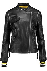 Dkny Cara Delevingne Convertible Leather Biker Jacket Black