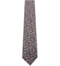 Duchamp Micro Floral Textured Silk Tie Turquoise