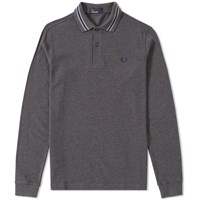Fred Perry Long Sleeve Bomber Stripe Collar Polo Grey