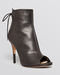 Pour La Victoire Peep Toe High Heel Lace Up Booties Vanya Black