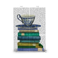 Fabfunky Teacup And Books Print