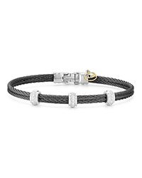 Alor Diamond Black Cable Bangle Black Silver