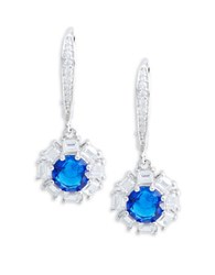 Lord And Taylor Cubic Zirconia Sterling Silver Earrings Blue