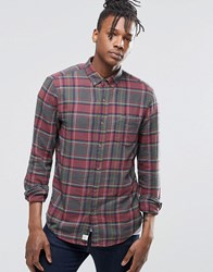Pull And Bear Pullandbear Lightweight Check Shirt In Khaki And Red In Regular Fit Khaki Green