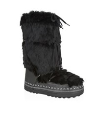 Bogner Lace Up Fur Boot Black