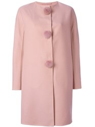 Ermanno Scervino Single Breasted Coat Pink And Purple