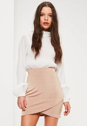 Missguided Nude Slinky Wrap Front Skirt Rose