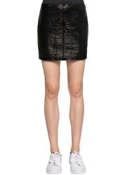 Courreges Crackled Vinyl Coated Cotton Mini Skirt Black
