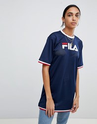 Fila Oversized T Shirt Dress In Mesh With Contrast Tipping Navy