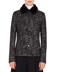 Akris Punto Button Front Bicolor Tweed Jacket W Detachable Faux Fur Collar Black Pattern