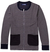 Junya Watanabe Striped Cotton Cardigan Blue