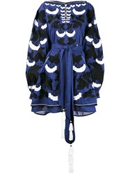 Yuliya Magdych Floral Embroidery Belted Dress Women Silk Cotton 2 Blue