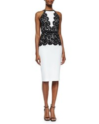 Michael Kors Floral Lace Overlay Bow Belted Dress White