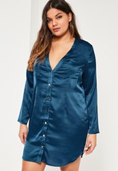 Missguided Plus Size Navy Satin Shirt Dress