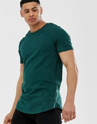 Jack And Jones Premium Long Line T Shirt With Curved Hem Green