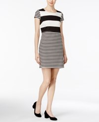 Maison Jules Striped Short Sleeve Dress Only At Macy's Egret Combo