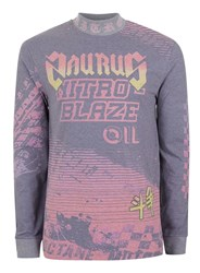 Topman Purple Motocross Print Turtle Neck Long Sleeve T Shirt
