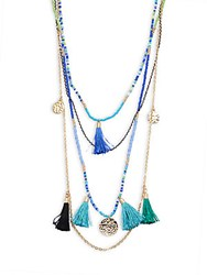 Cara Beaded Tassel Necklace Blue