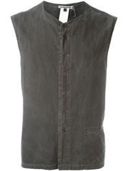 Issey Miyake Vintage Buttoned Sleeveless Top Grey