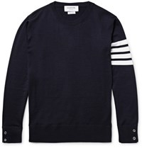 Thom Browne Striped Merino Wool Sweater Navy
