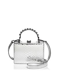 Nasty Gal Girl Boxx Trunk Metallic Embossed Leather Crossbody Silver