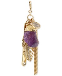Inc International Concepts M. Haskell For Gold Tone Feather And Stone Charm Cluster Clip On Pendant Only At Macy's