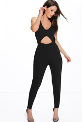Boohoo Strappy Cross Back Skinny Leg Jumpsuit Black