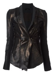 10Sei0otto Metallic Bronze Tone Fitted Jacket Black