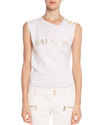 Balmain Button Shoulder Logo Muscle Tee White Patterned