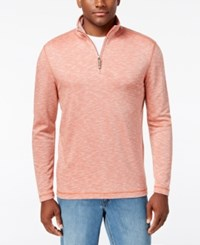 Tasso Elba Men's Quarter Zip Up Pullover Only At Macy's Coral Depth