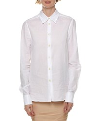 Tom Ford Long Sleeve Cotton Poplin Button Front Blouse White