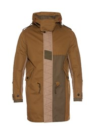 Valentino Contrast Patch Hooded Parka Khaki