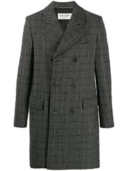 Saint Laurent Checkered Double Breasted Coat Black