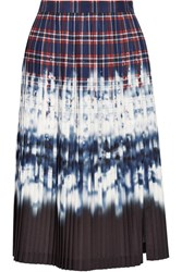 Altuzarra Lucile Pleated Printed Satin Skirt Storm Blue