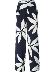Issa Front Pleat Flower Print High Waisted Trousers Blue