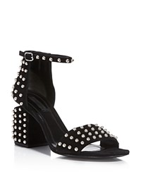 Alexander Wang Abby Studded Cutout Block Heel Sandals 100 Bloomingdale's Exclusive Black Silver