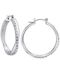 Guess Pave Crossover Hoop Earrings Silver