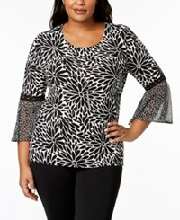 Jm Collection Plus Size Bell Sleeve Necklace Top Created For Macy's White Petal